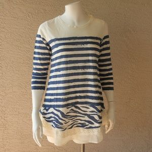 Striped Lace Trimmed Tunic NWOT